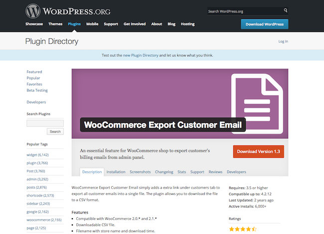 WooCommerce Export Customer Email