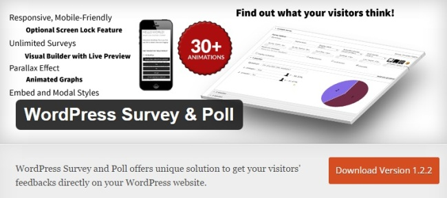 WordPress Survey & Poll banner detailing the plugin's features
