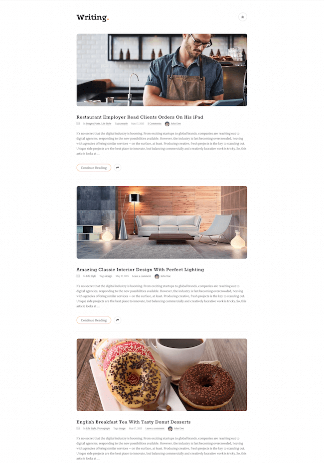 Writing Blog Wordpress Theme