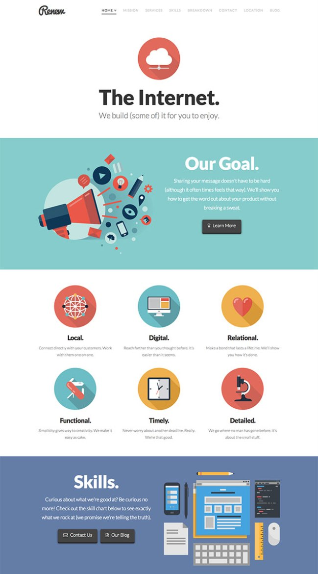 the one page WordPress theme X Theme
