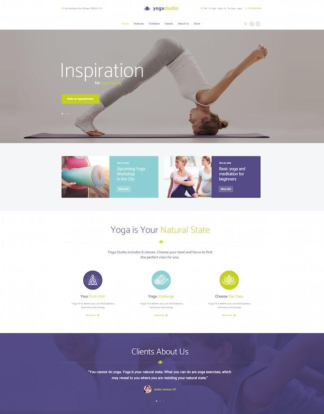 Yogastudio wordpress theme