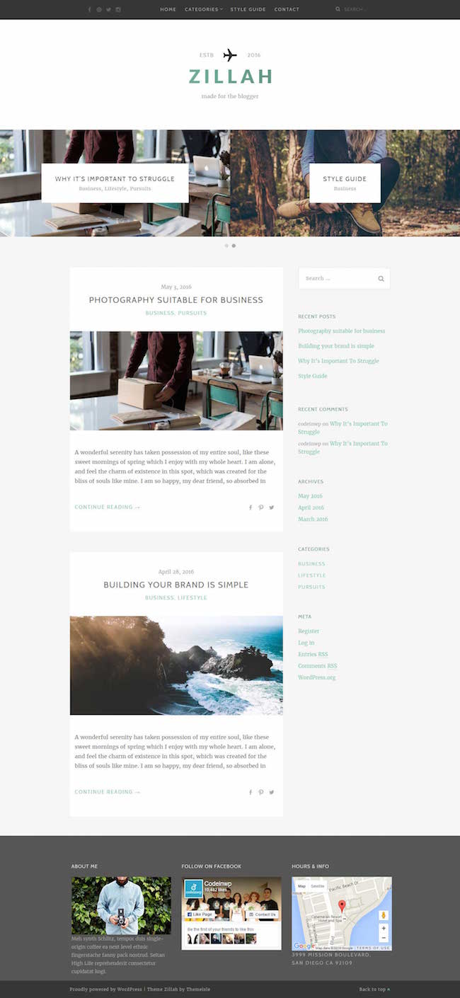 Zillah free wordpress theme