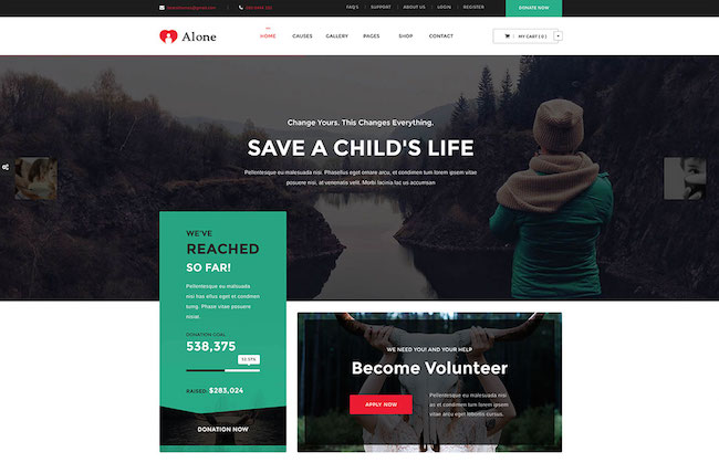 alone-simple-charity-WordPress-theme