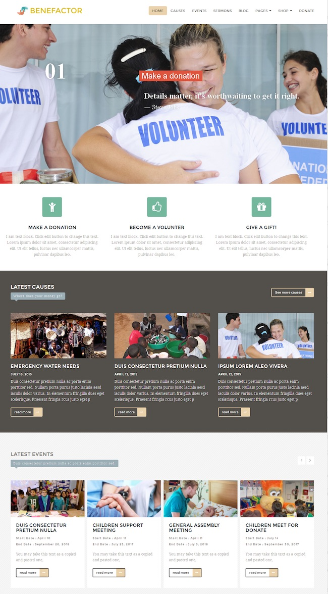 benefactor nonprofit wordpress theme