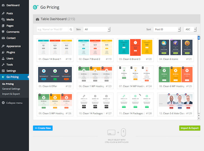 a peek into the go pricing plugin's back end in wordpress