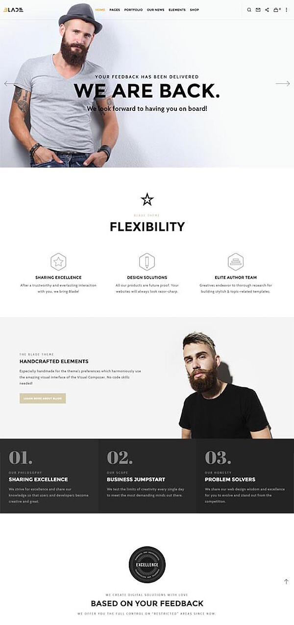 blade is one of the best parallax wordpress themes