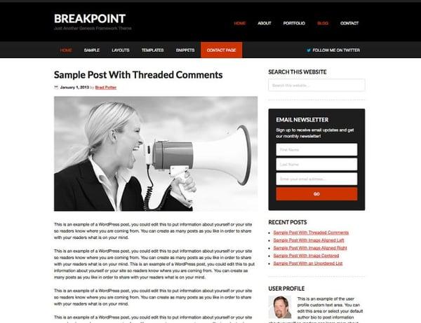 breakpoint free Genesis child Theme