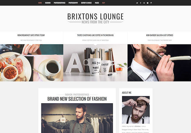 brixton blogging WordPress theme