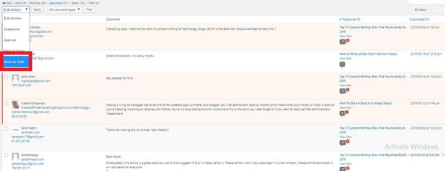 delete bulk comments