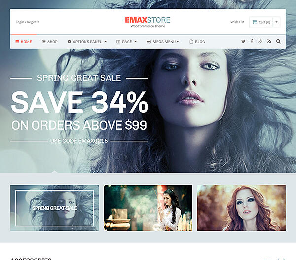 Best Parallax WordPress theme eMaxStore demo