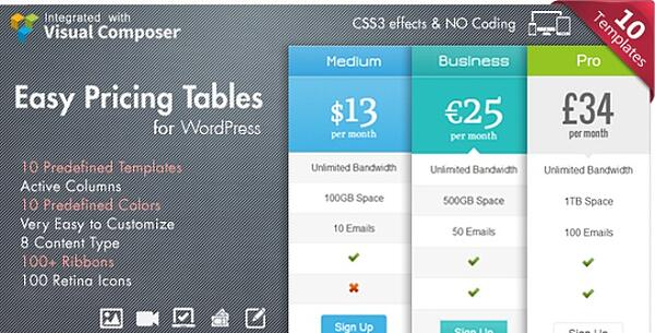 banner illustrating the features of easy pricing tables wordpress plugin