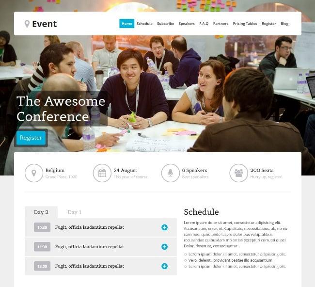 event WordPress themes