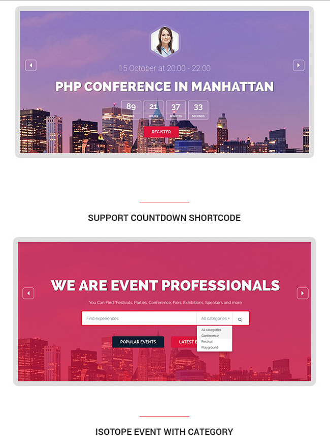 event manager wp theme