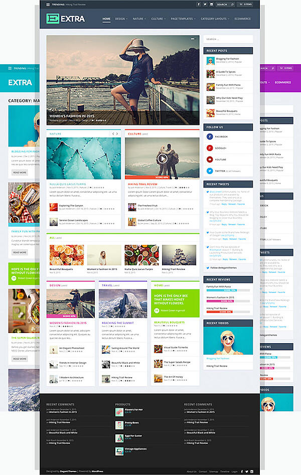 Extra WordPress theme with advertising space