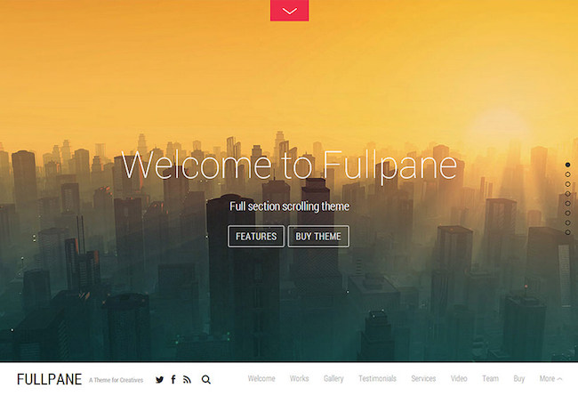 the one page  WordPress theme Fullpane