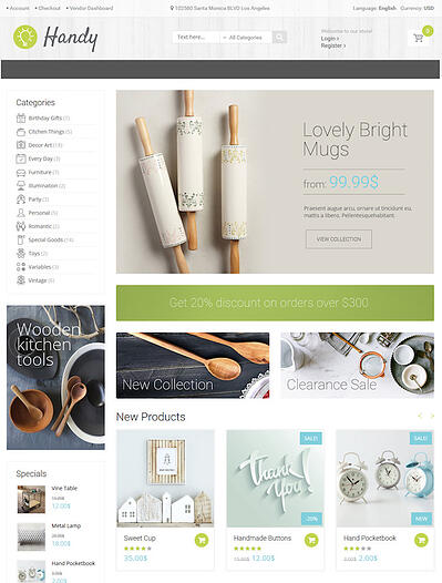 Handy WordPress Marketplace theme homepage featuring the tagline, computer screen, and example of the the theme layout