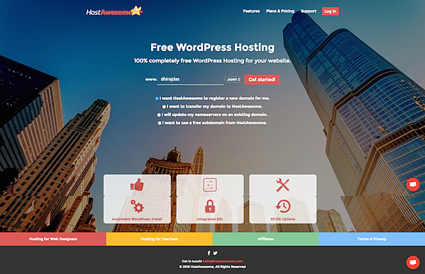 """hostawesome homepage that reads """"100% completely free wordpress hosting for your website"""""""