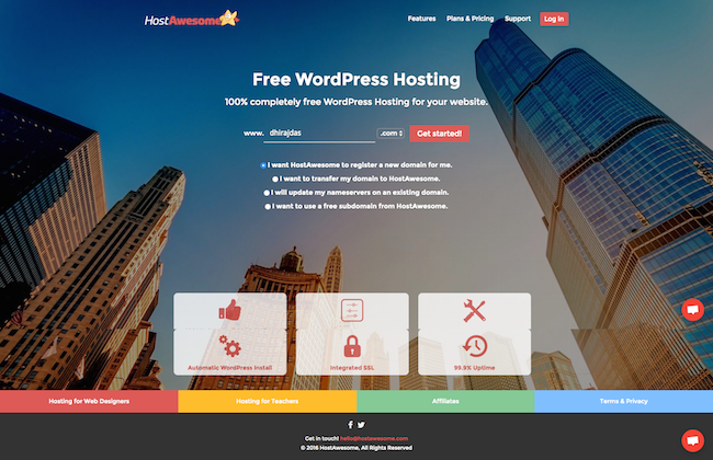 hostawesome-free-wordpress-hosting