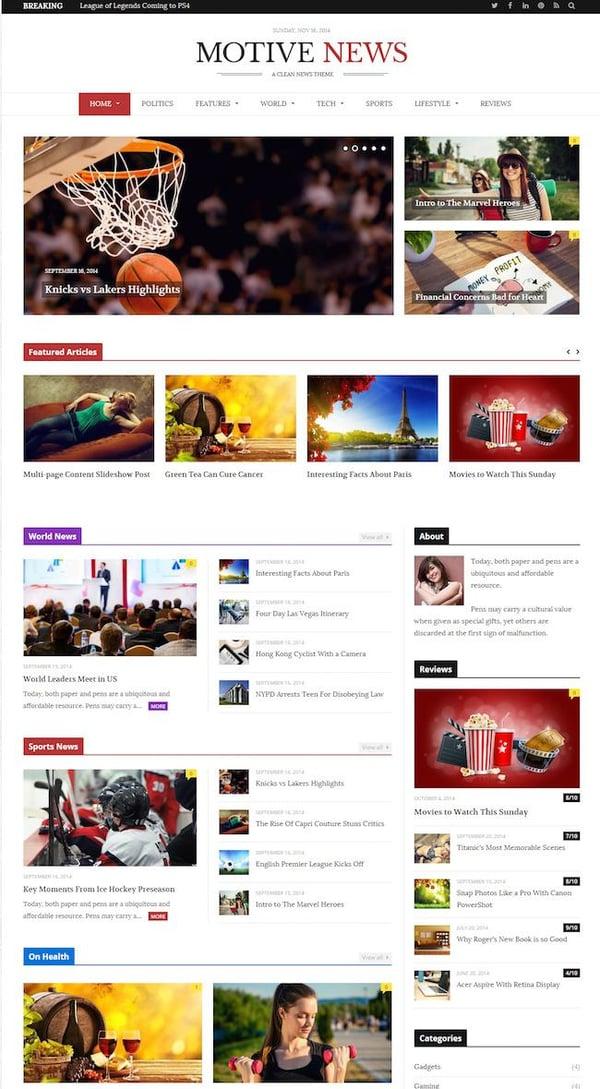Motive News Theme demo built with HTML5