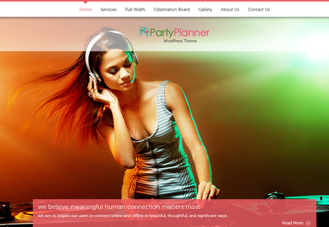 Party Event Planner WordPress Theme