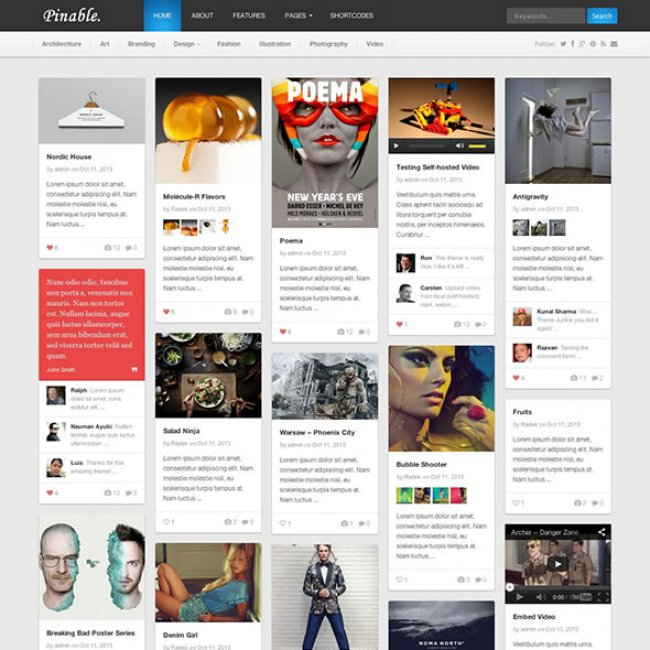 pinable Pinterest-style theme