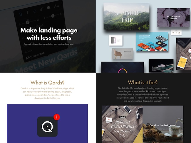 qards landing pages
