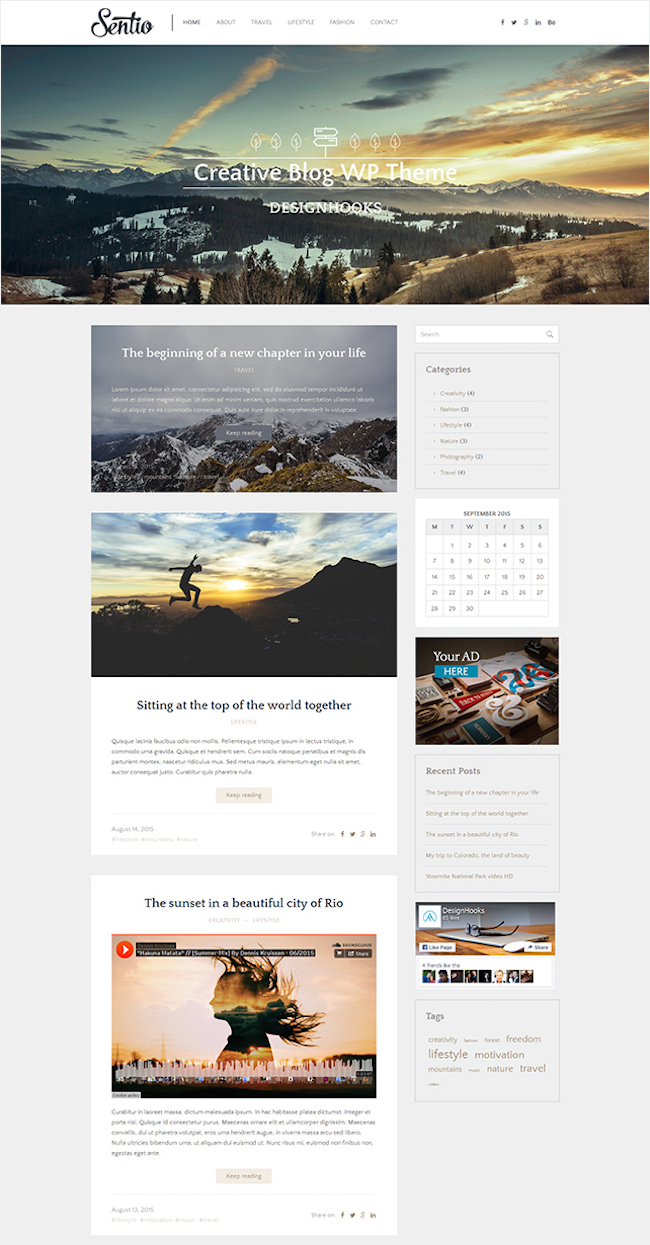 sentio free wordpress theme