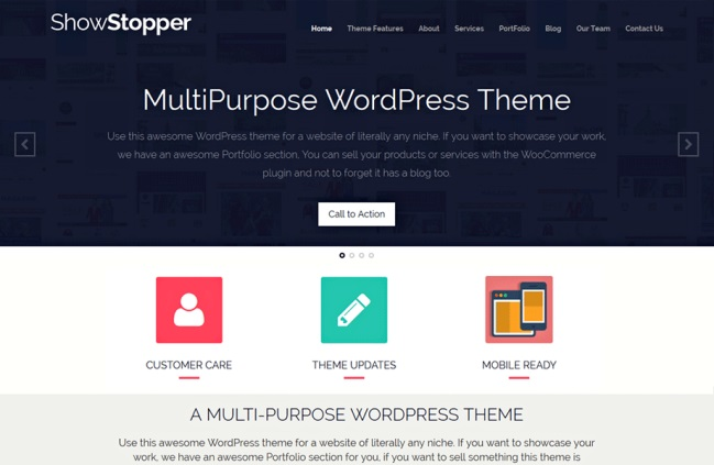 Showstopper one page WordPress theme