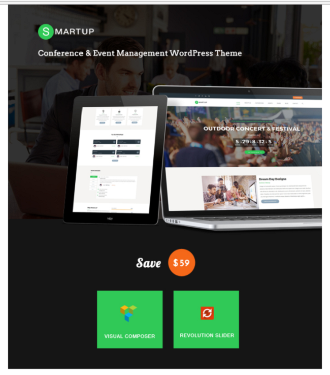 smart up wp theme, event planner wp theme