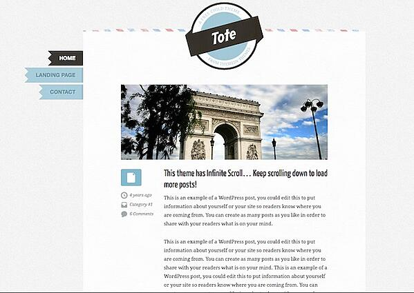 Free Genesis child theme Tote homepage