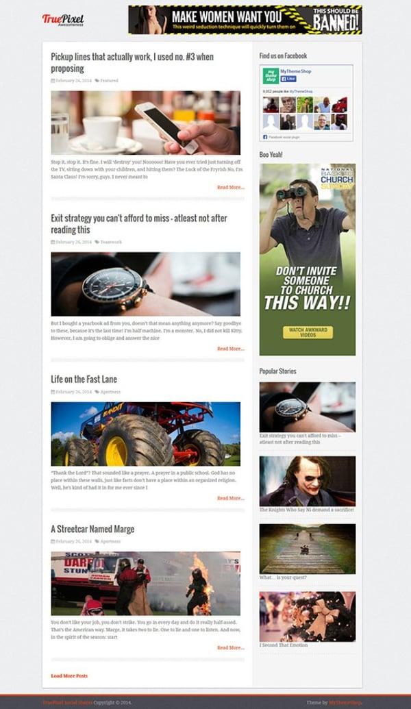 TruePixel wordpress theme demo with advertising space