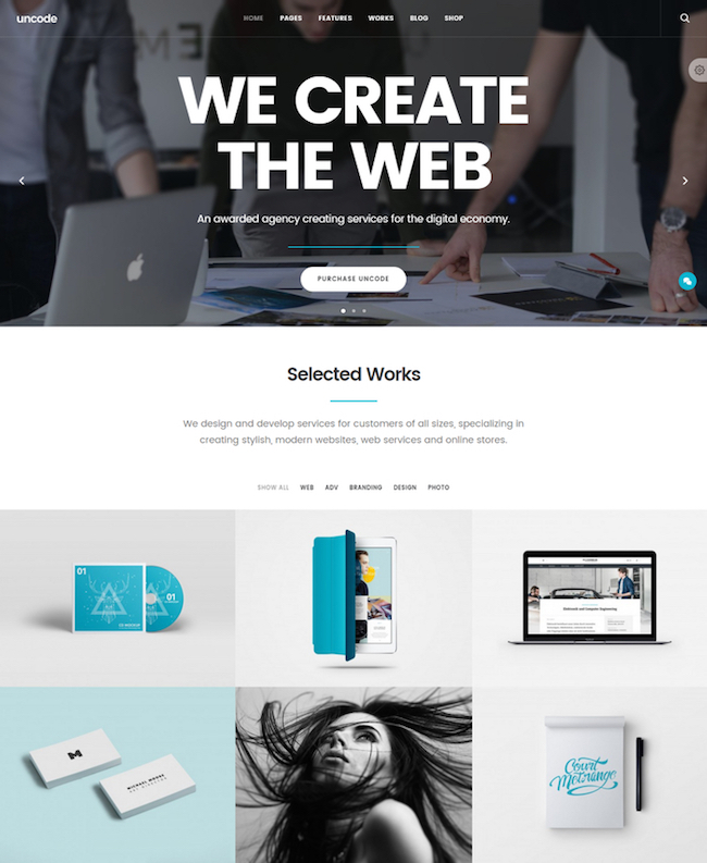 the one page WordPress theme Uncode
