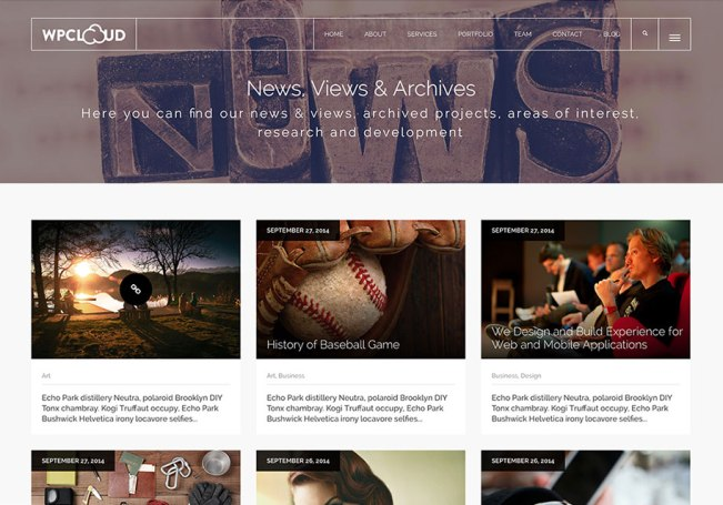 the one page wordpress theme WPCloud
