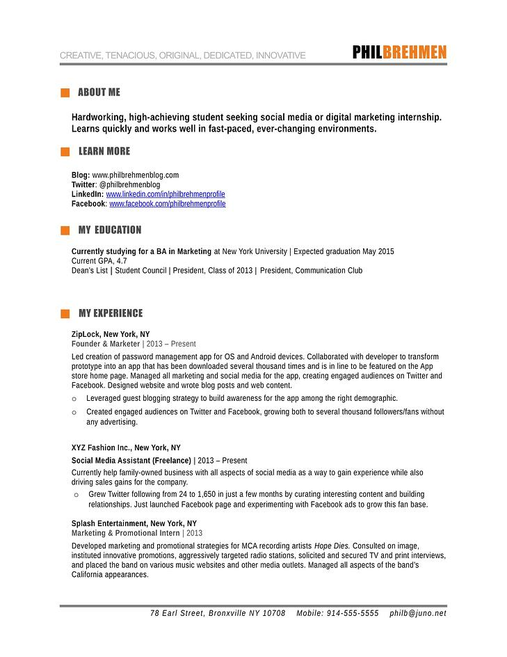 Resume Marketing marketing manager combination resume sample Inbound_marketing_intern_1 1jpg