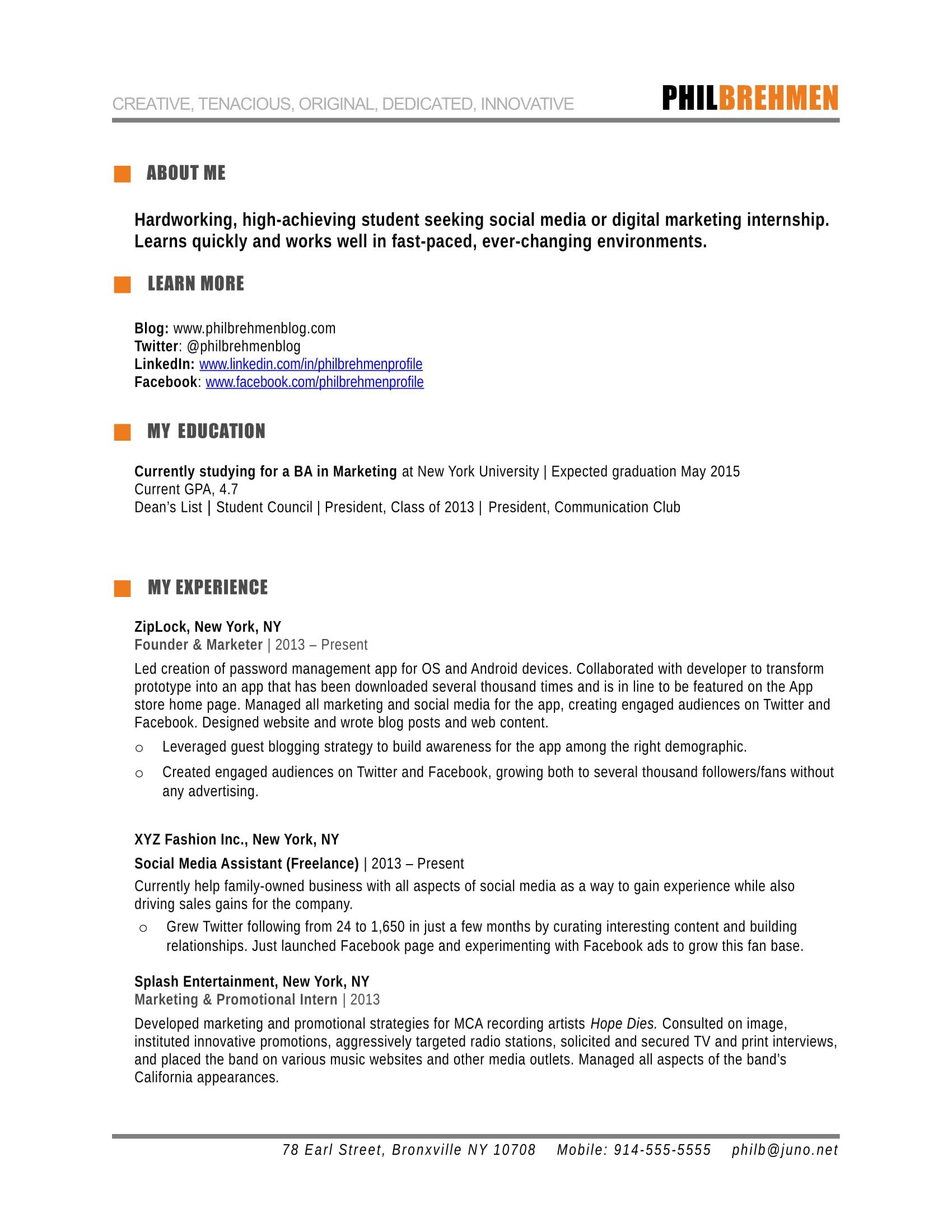 resume format for marketing job