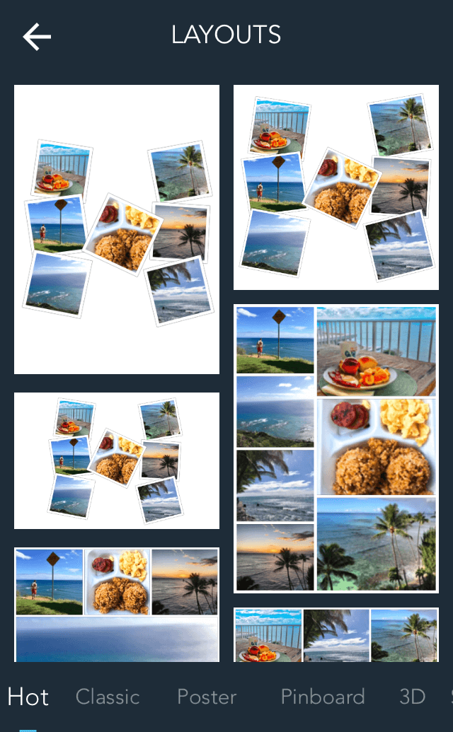 Example collages on Live Collage photo editing app