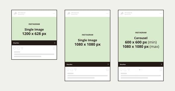 Instagram displays different ad sizes.