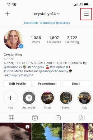 Convert Instagram to a Company Profile: Tap Hamburger Menu