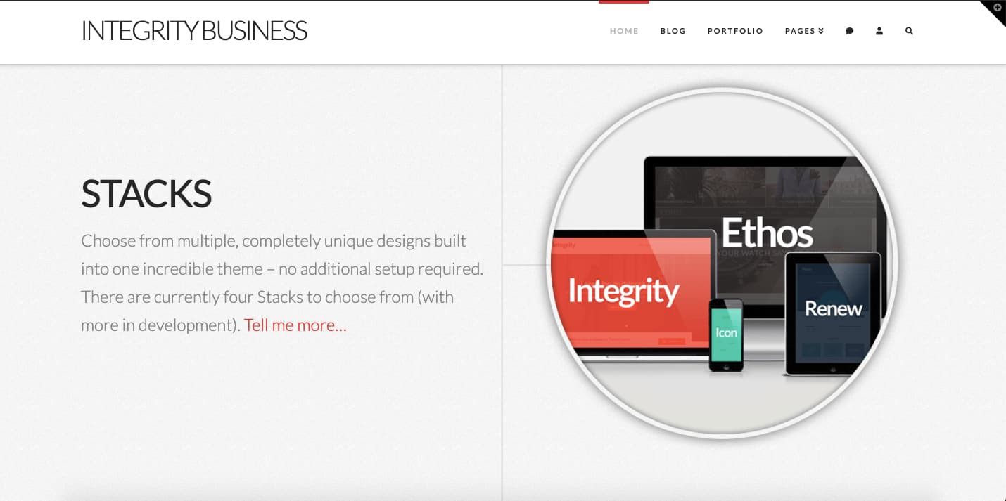 Integrity Business demo site with sticky menu included in Pro Theme