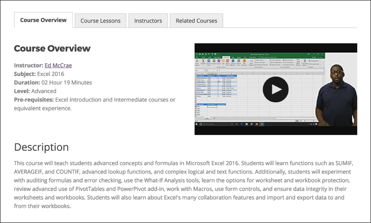 Excel course overview by Intellezy