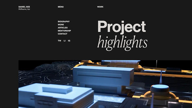 Interactive portfolio website Daniel See uses several scrolling and animation effects