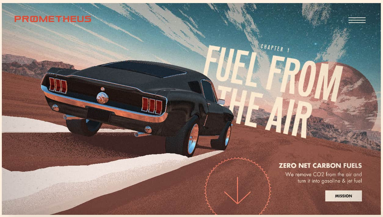 Interactive website Prometheus Fuels invites readers to learn how their company is creating fuel from the air