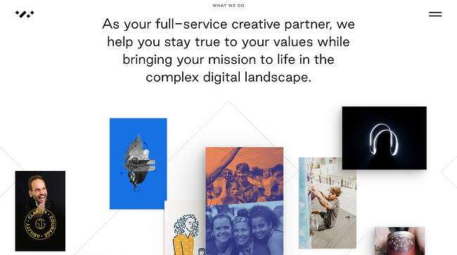 Interactive website Whiteboard displays a digital portfolio collage that readers can click on to view individual projects