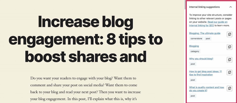 Internal linking suggestions on Gutenberg post generated by Yoast SEO must-have WordPress plugin
