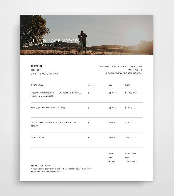 photography invoice sample
