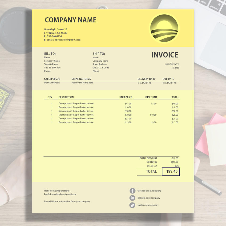 Yellow Invoice Sample