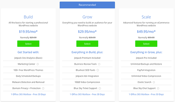 Pricing and features of Bluehost WP Pro packages