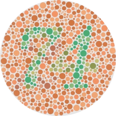 Ishihara red-green color blindness test showing the number 74-1