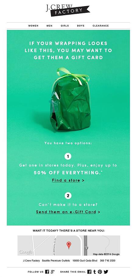 """Email Marketing Campaign Example: J.Crew Factory - """"If your wrapping looks like this, you may want to get them a giftcard"""""""
