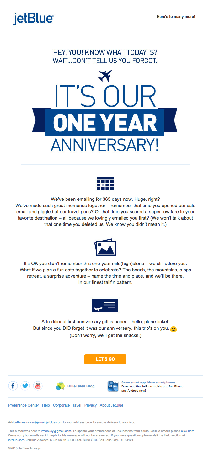 13 Email Examples That Totally Nailed Personalization JetBlue 1